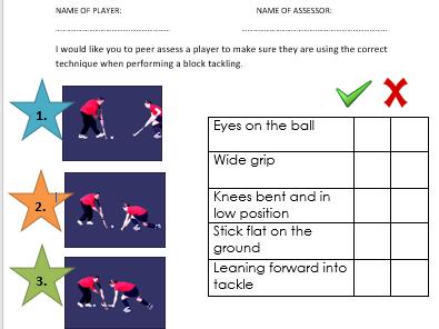 Hockey block tackle peer assessment