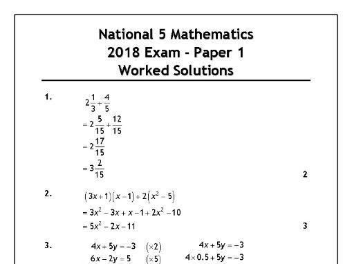 National 5 Maths 2018 Exam Solutions