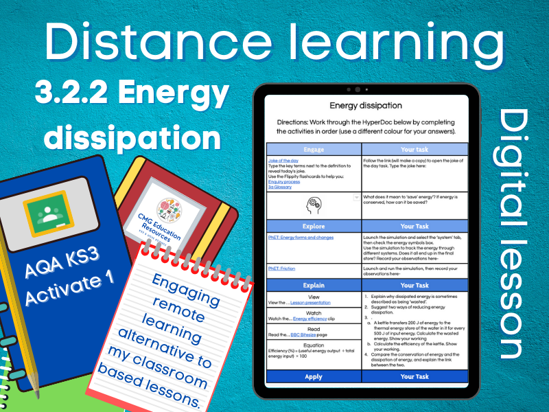 3.2.2 Energy dissipation: Distance learning (AQA KS3 Activate 1)