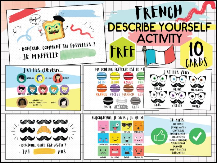 FRENCH ACTIVITY DESCRIBE YOURSELF AND YOUR CLASSMATE - 10 FLASH CARDS - IDENTITY