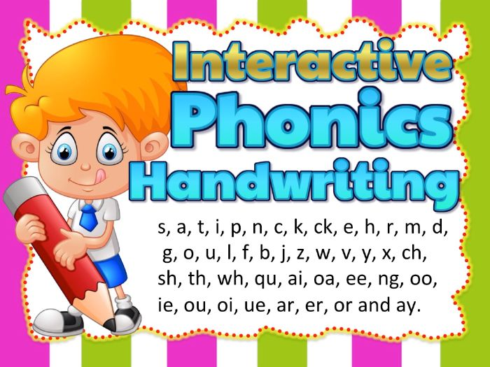 Phonics Teaching Handwriting for Smart board and Handwriting Worksheets