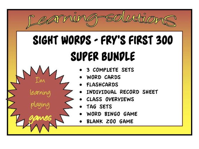 SIGHT WORD SUPER BUNDLE - FRY'S First 300 - COMPLETE