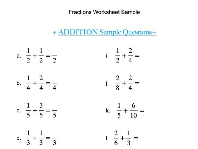Fractions Addition Practise Sample Worksheet (KS3 - GCSE)