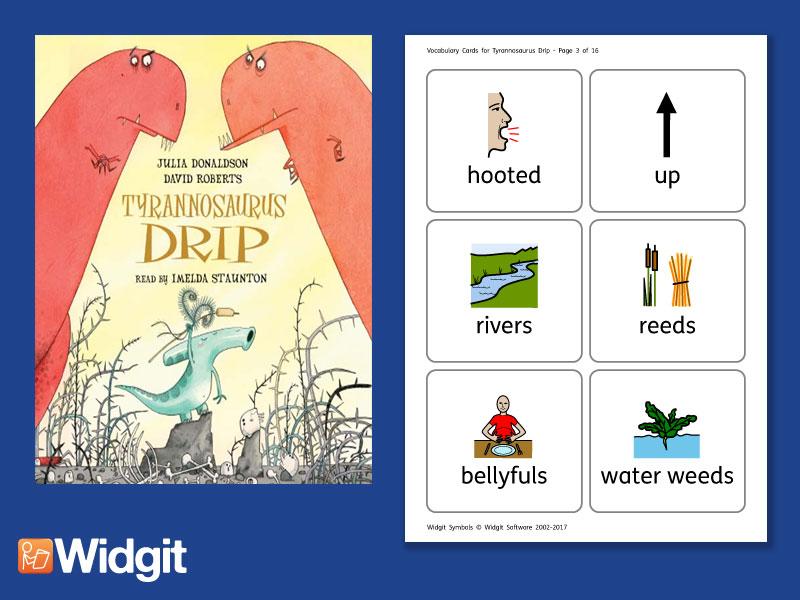 Tyrannosaurus Drip - Big Book Flashcards with Widgit Symbols