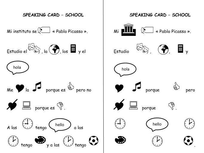 Spanish speaking activities 3 topics