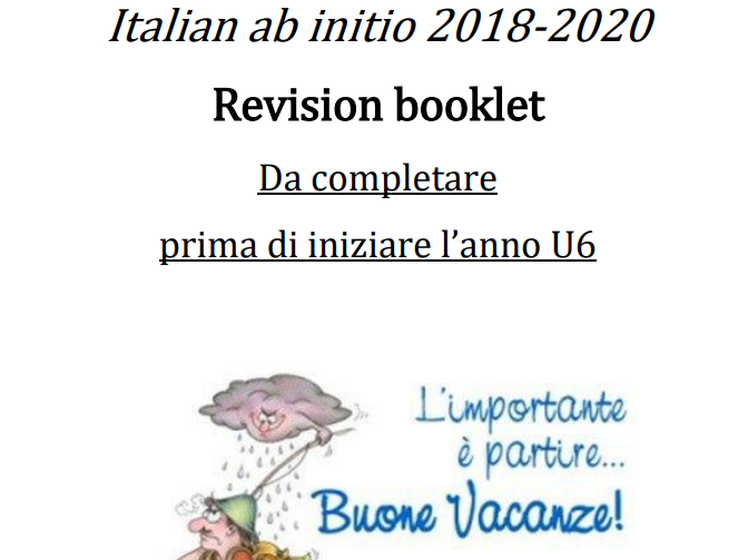 Italian ab initio summer revision booklet