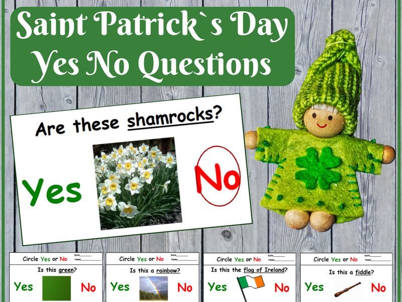 Saint Patrick`s Day Yes No Questions for Special Ed