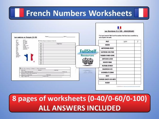 French Numbers (Les Nombres) Worksheets