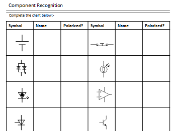 Design Technology Electronic Component Recognition Worksheet