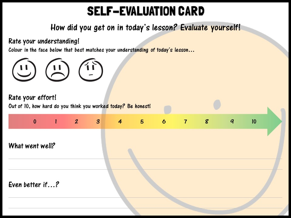 Self-evaluation card