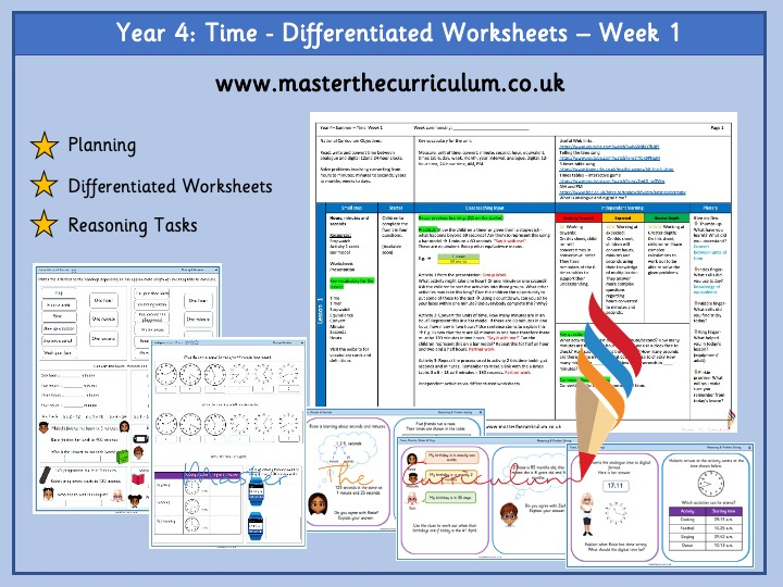 Year 4- Summer - Week 1 Differentiated Time Worksheets - White Rose Style