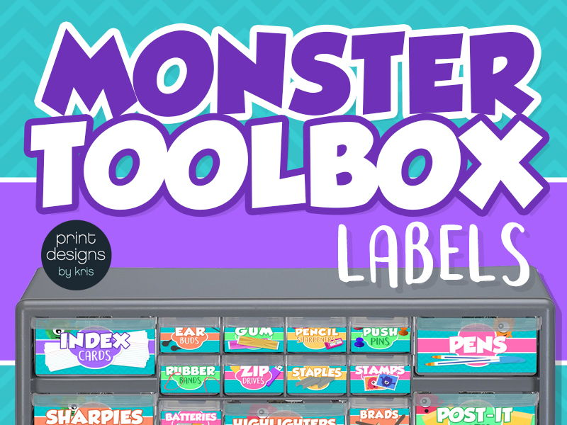 Teacher Toolbox Drawer Labels - Monster Design Style