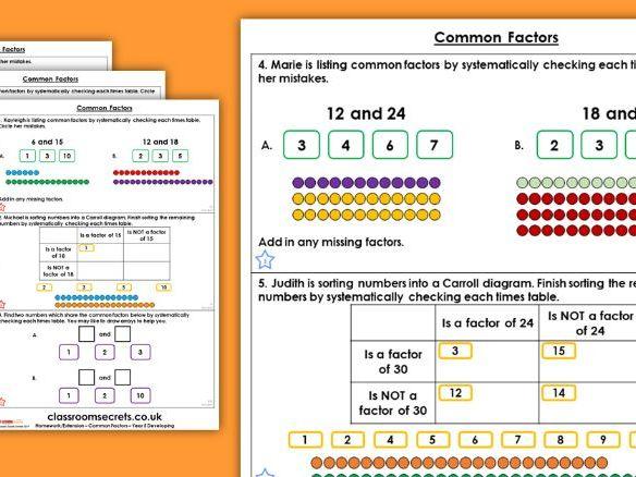 Year 5 Common Factors Autumn Block 4 Maths Homework Extension