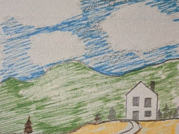 House in the hills    (drawing lesson for years 1 and 2)