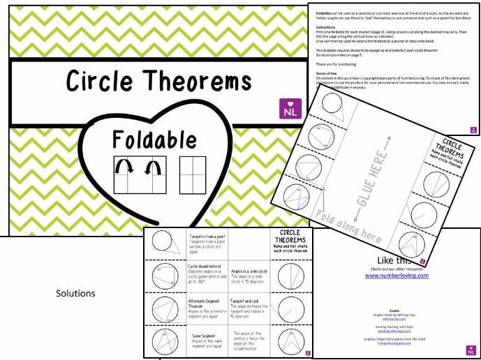 Circle Theorems (Foldable)