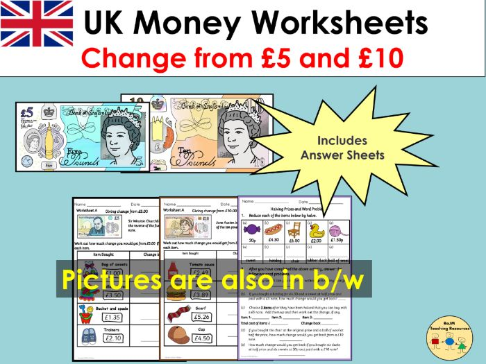 UK Money Worksheets Giving Change and Word Problems