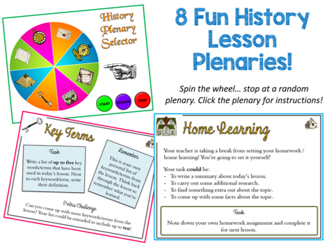 History Lesson Spinning Plenary Selector Wheel! 8 Plenaries, NO PLANNING! Fun AfL Resource
