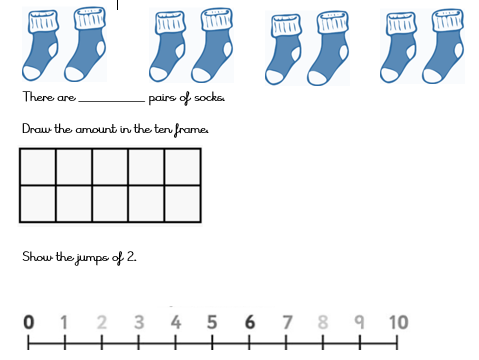 Counting in 2s Pictorial  differentiated