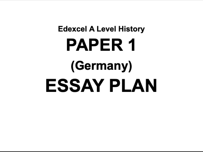 Edexcel A Level History Essay Plan #2: Women in Weimar/Nazi Germany
