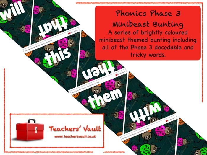 Phonics Phase 3 Minibeast Bunting