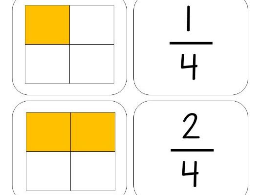 Year 1 Maths - fractions flashcards matching game - halves, quarters, thirds, whole