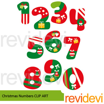 Christmas Numbers clip art