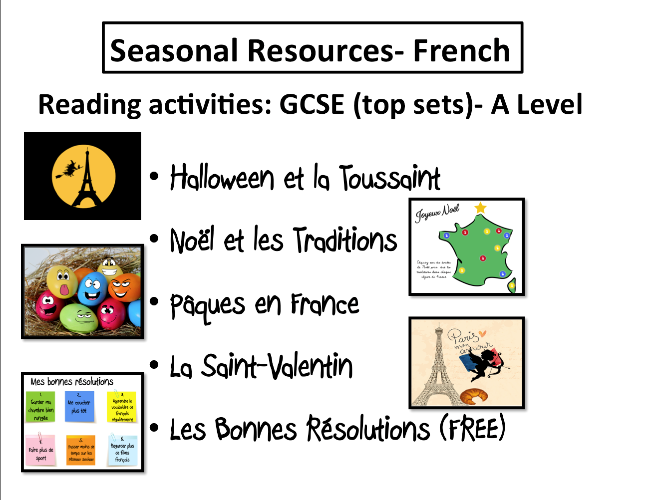 Seasonal Resources- Reading Activities- GCSE and A Level French