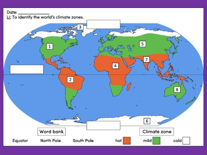Identifying the world's climate zones - KS1/KS2