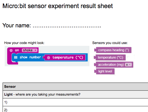 Microbit Sensor Experiment Results Sheet