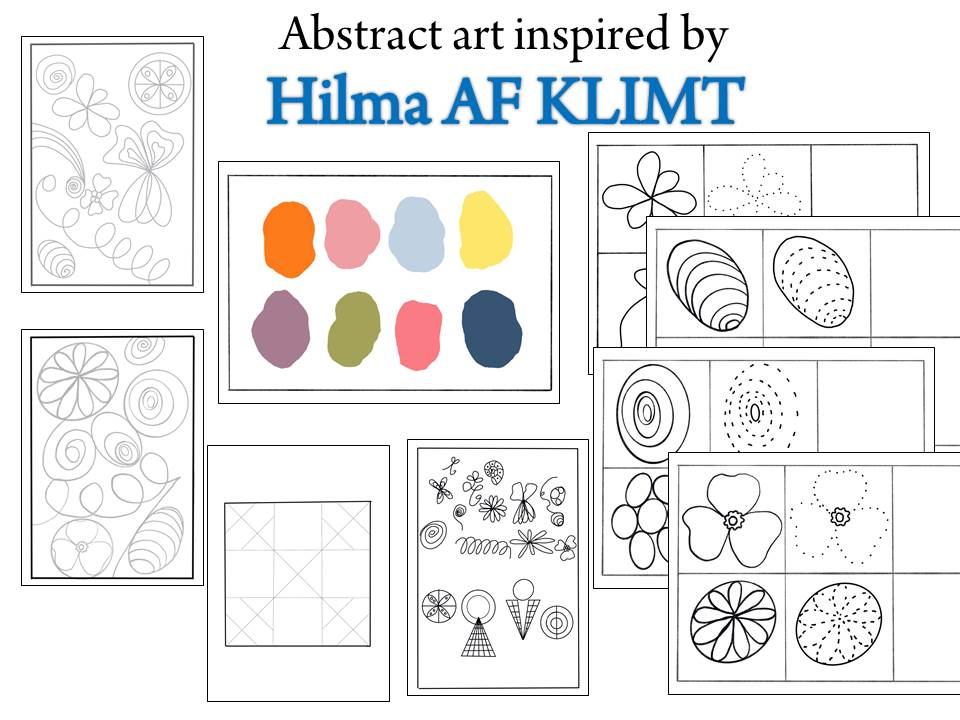 Abstract art inspired by Hilma Af Klimt-Coloring pages and patterns