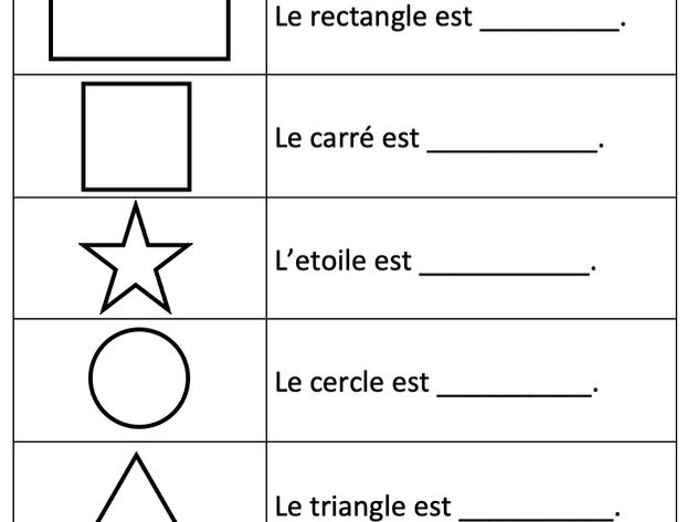 French Colours & Shapes Activity - Y4