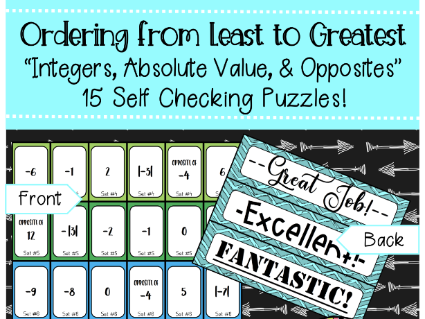Ordering Integers, Absolute Value, and Opposites Self Checking Puzzles