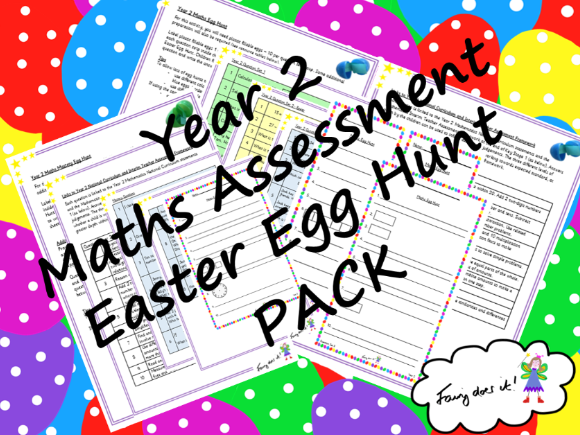 Year 2 Maths Assessment Easter Egg Hunt PACK - General Maths + Mastery