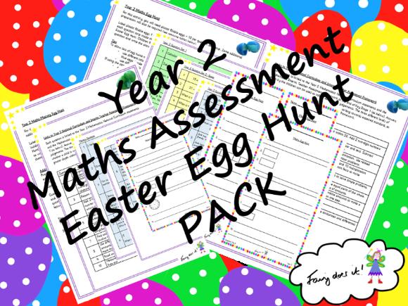 Year 2 Maths Assessment Easter Egg Hunt PACK - General Maths + Mastery