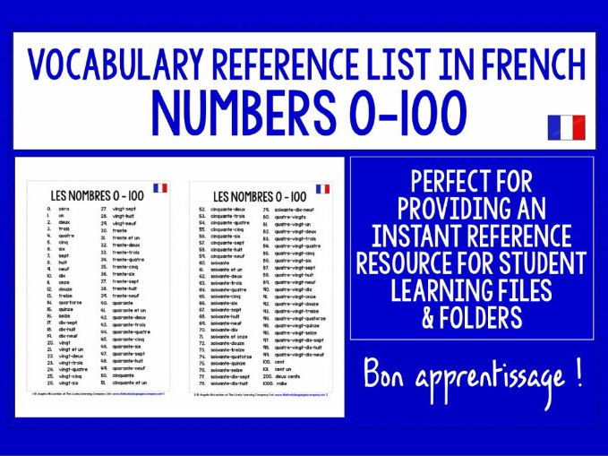 FRENCH NUMBERS 0-100 VOCABULARY REFERENCE LIST