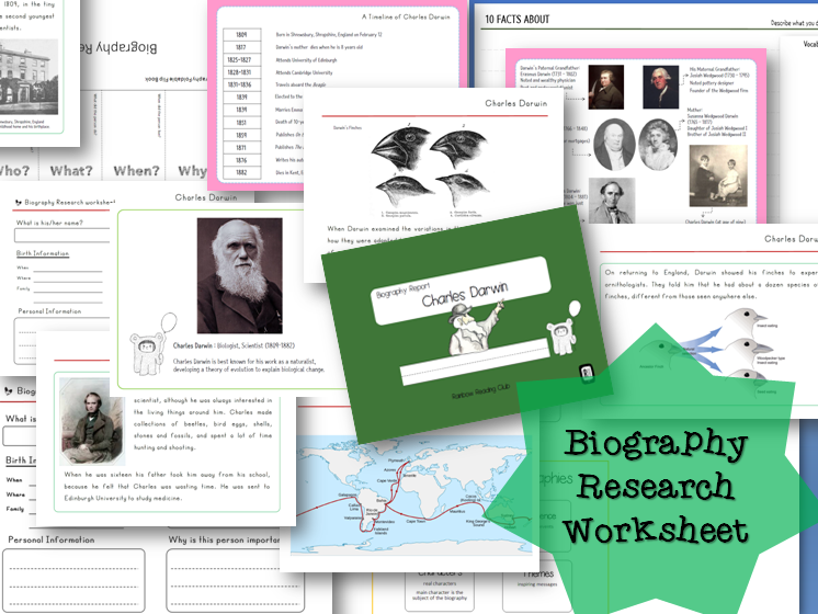 Biography Research Report / Charles Darwin Biography worksheet