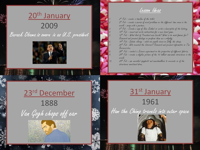 WINTER - This Day on... exciting historical days in December/January/February