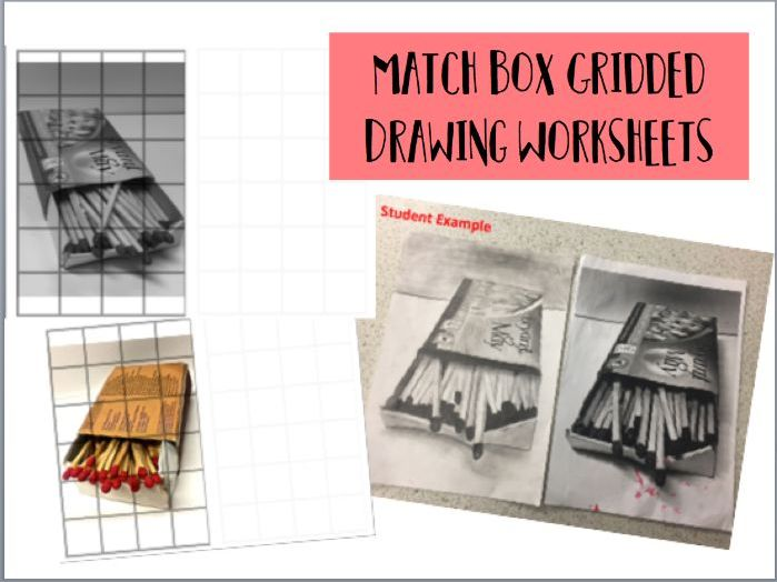 Matchbox Gridded Drawing Worksheets colour / B&W