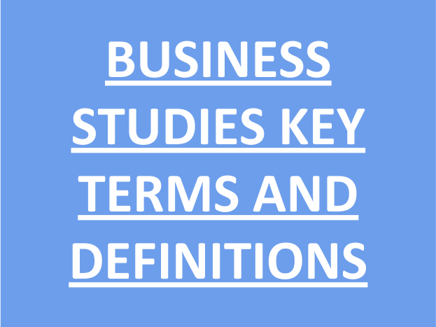 Edexcel Business Studies - Key Terms and Definitons