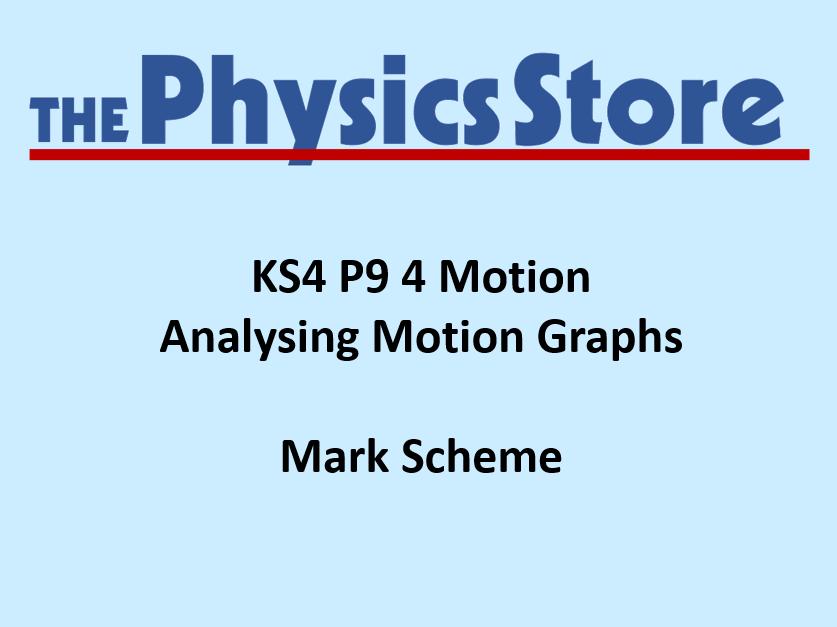 KS4 Physics P9 4 Analysing Motion Graphs Mark Scheme