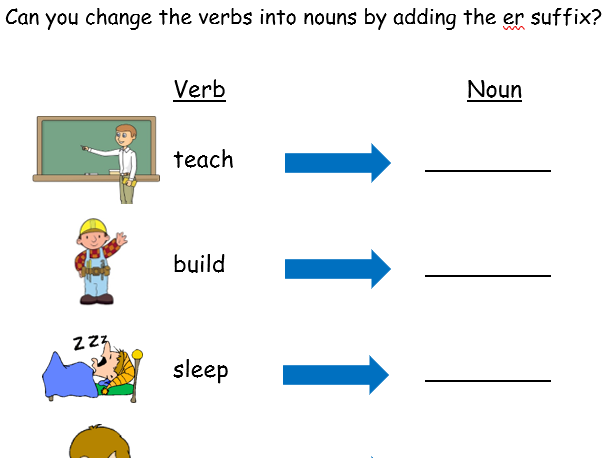 er suffix - adjectives and verbs - 5 Worksheets Differentiated