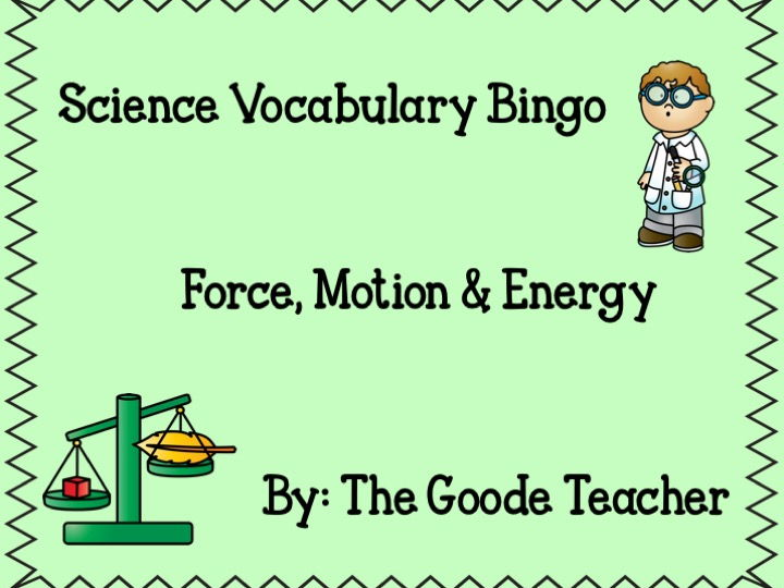 Force, Motion, & Energy Science Bingo
