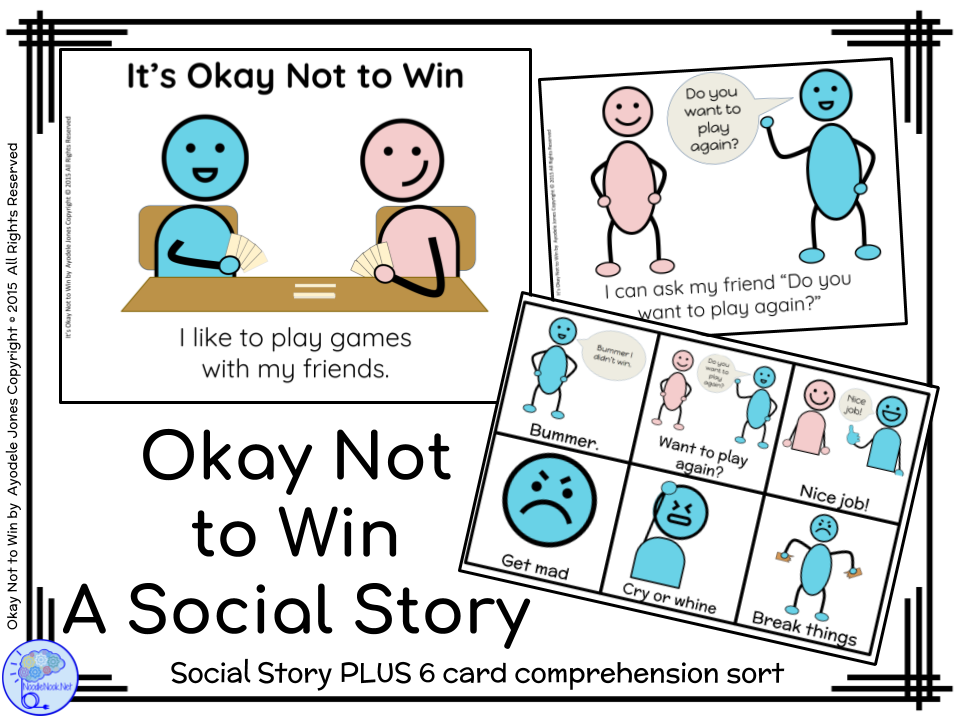 Okay Not to Win- A Social Story for Autism Units and Primary Grades
