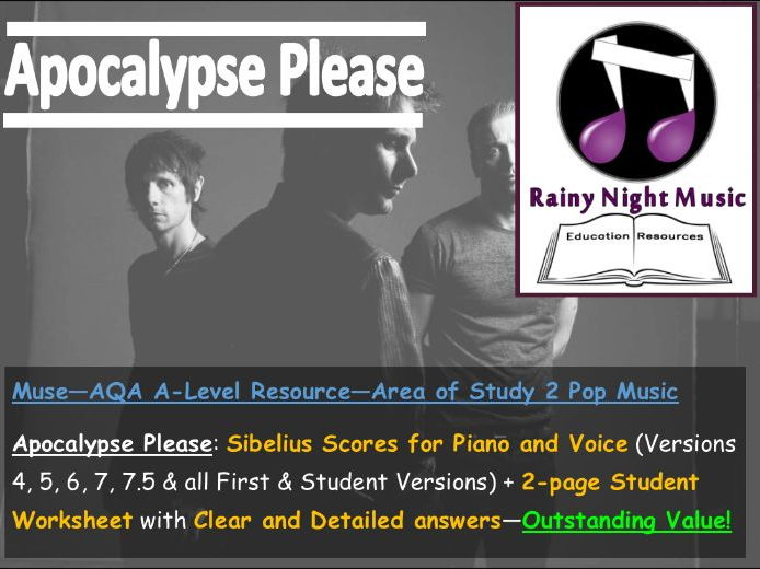 MUSE - APOCALYPSE PLEASE - Teaching & Learning Pack - AQA A Level Music - Area of Study 2: POP
