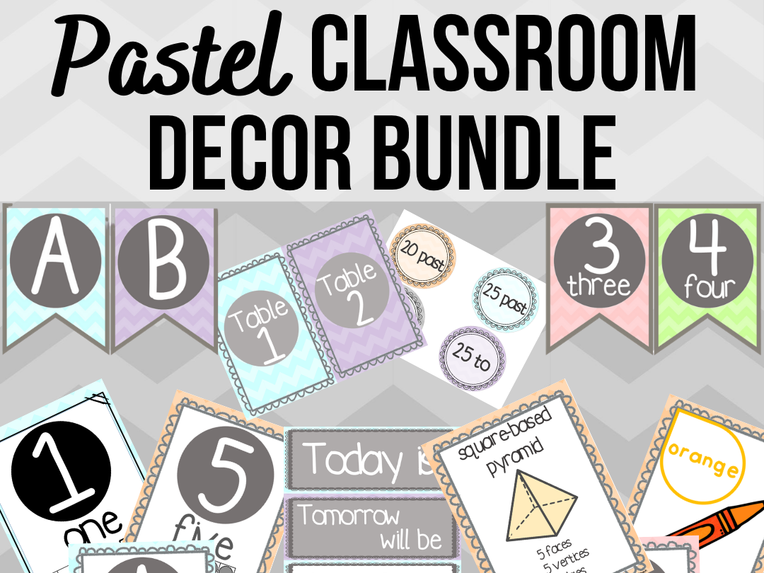 Pastel Classroom Decor Bundle