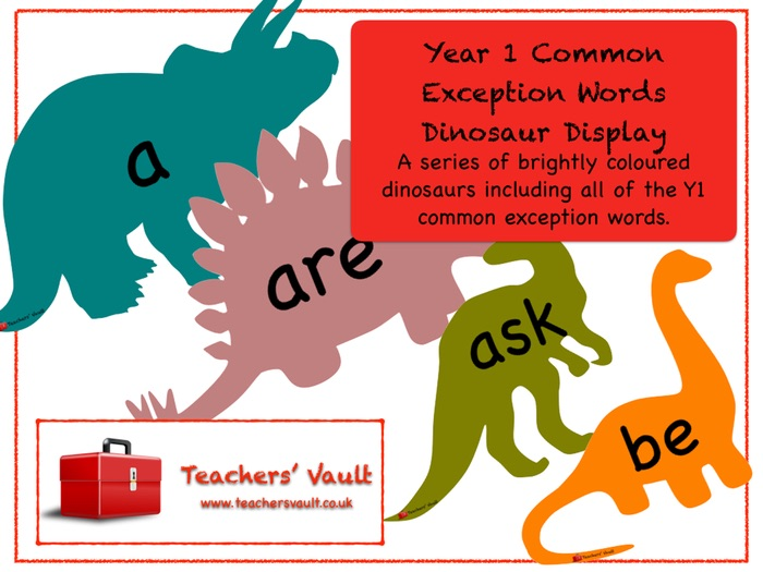 Year 1 Common Exception Words Dinosaurs Display