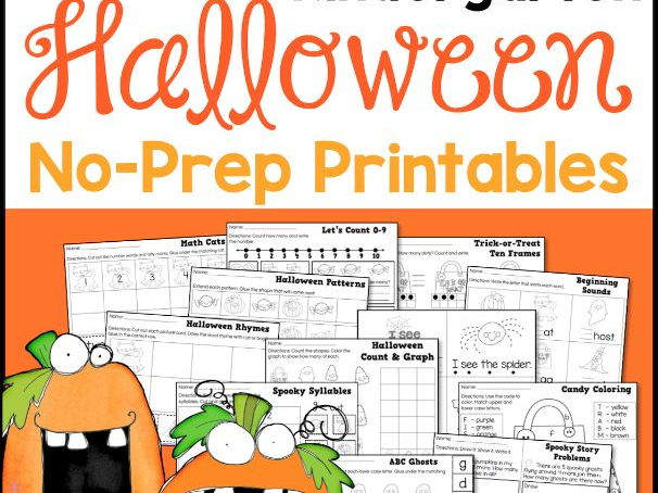Halloween Math and Literacy No-Prep Printables for Kindergarten/Reception