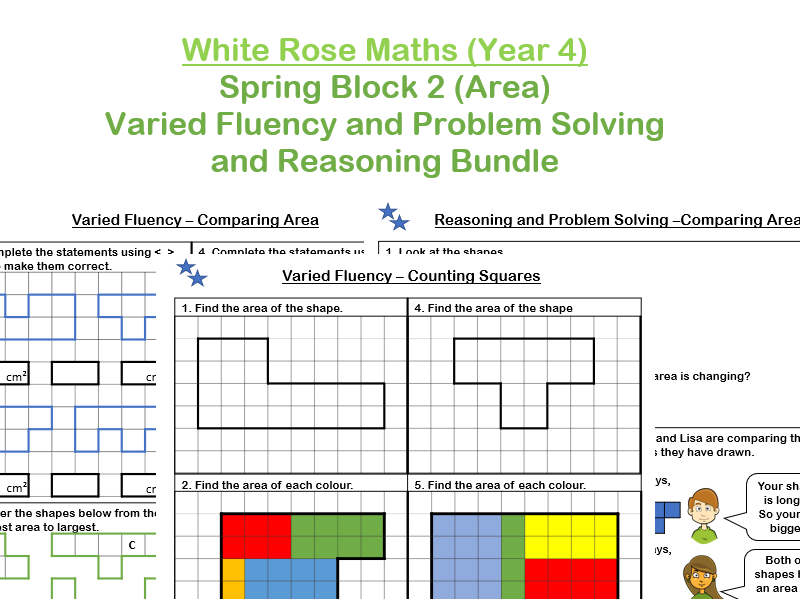 White Rose Maths - Year 4 - Spring Block 2 - Area (Varied Fluency and Problem Solving and Reasoning practice bundle)