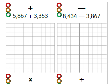 4 Calculation maths activity starter (x20) KS2 (Y3/4) Addition/Subtraction/Multiplication/Division