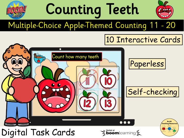 Counting 11 to 20 Apples Teeth Fall Autumn BOOM Cards™ Distance Home Learning
